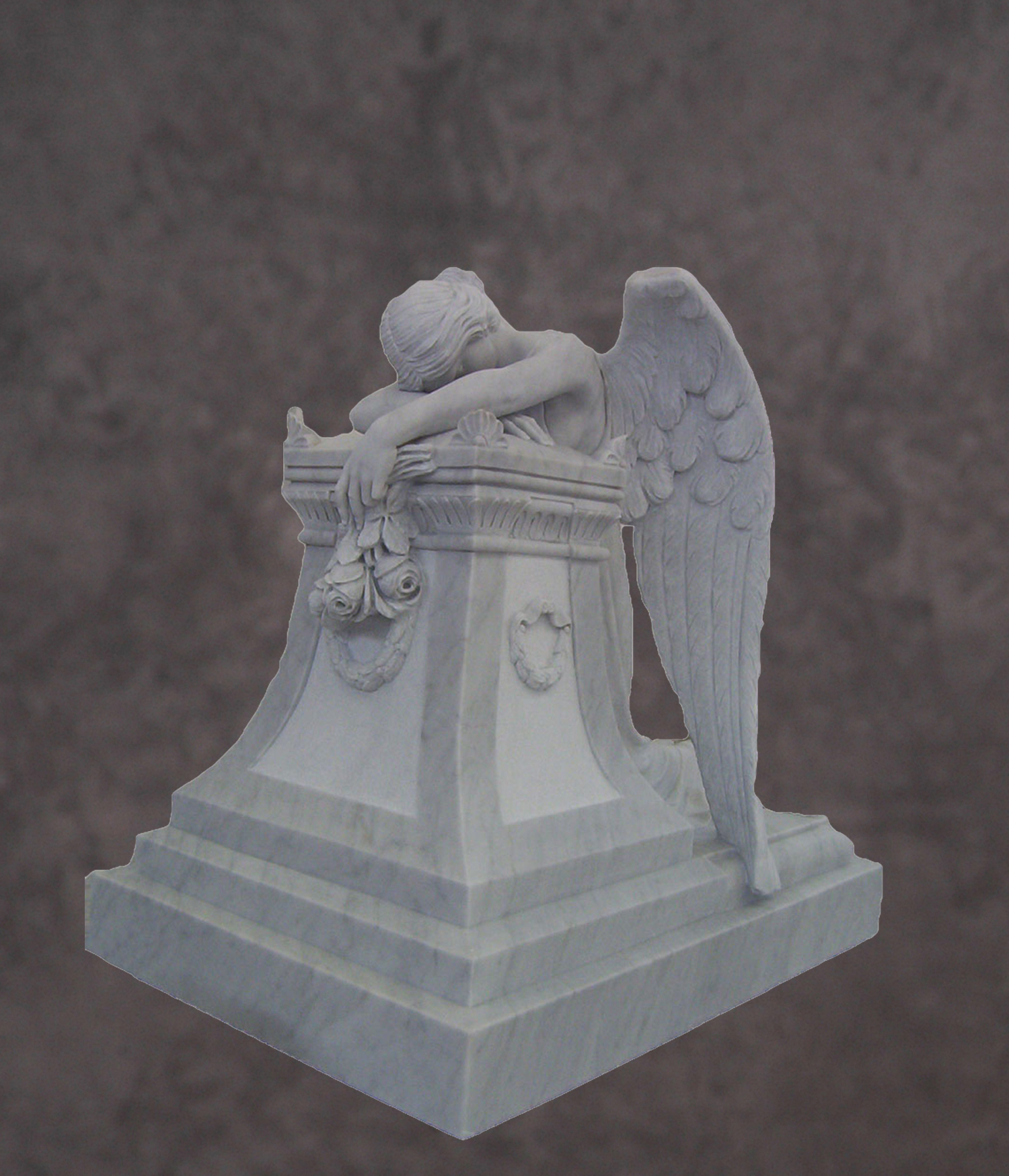 Italian Hand Carved Marble Angel Statue