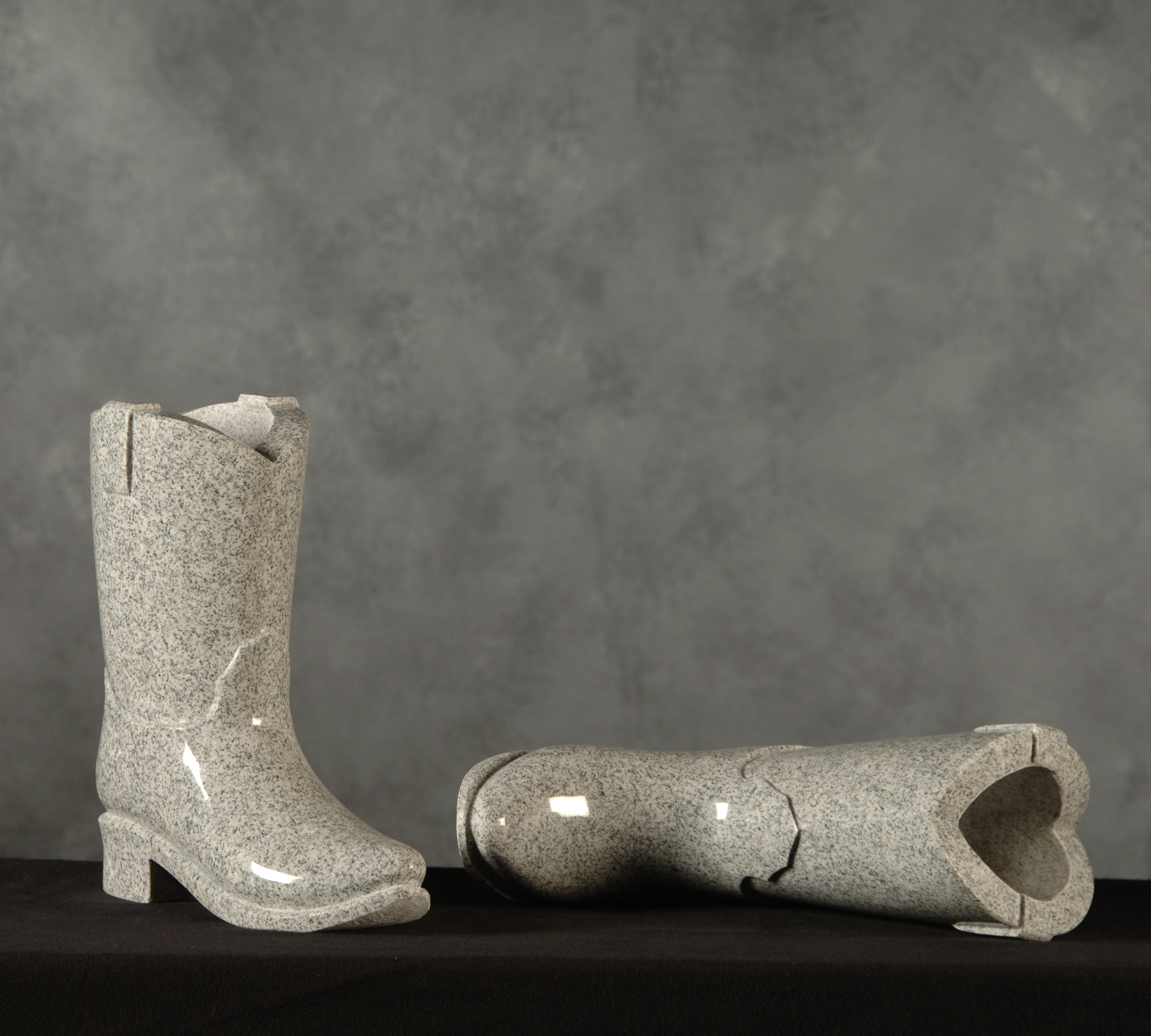 Specialty Flower Vases. Medium Gray Cowboy Boots & Roquemore Marble and Granite | Specialty Flower Vases